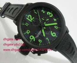 Wholesale Dlc Pvd - TOP Quality Mens Flightdeck Green 50mm Black Dlc Pvd Chronograph Wrist Mens Men's Watch Watches
