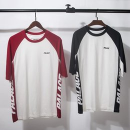 Wholesale Summer Tops Usa - 2017 New Palace T-shirts Men Women High Quality Summer Style Red and Blue Palace Skateboards T Shirt Top Tees Palace T-shirts USA Size