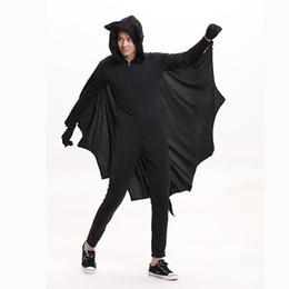 Wholesale Plus Size Costume Onesies - Adult's Vampire Bat Costume Evil Bat Cosplay Black Jumpsuit Hooded Onesies Elastic Halloween Costume for Men Plus Size