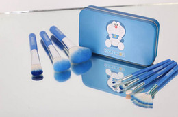Pinceaux de maquillage à manche bleu en Ligne-NOUVEAU 7 pcs / set Doraemon Brosses De Maquillage