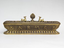 Wholesale Brass Sheep - Tibet Temple Brass Carved 8 Auspicious Symbol Sheep Statue Incense Burner Censer statue home decoration