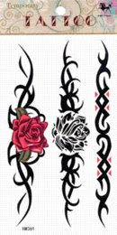 Wholesale Order Tattoo Designs - Women sex products fake temporary tattoo stickers waterproof body back waist armbands designs red rose totem mini order $5