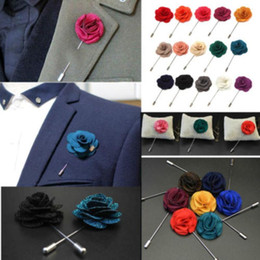 Wholesale Wholesale Ties China - New Vintage Men's Handmade Begonia Flower Lapel Pin Boutonniere Corsage for Suit Tie Stick Brooch Pins 18Colors flower 4cm