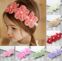 Wholesale Girl Headbands For Sale - Hot Sale Hair Accessories For Infant Baby Lace Big Flower Pearl Princess Babies Girl Hair Band Headband Baby's Head Band Kids Hairwear