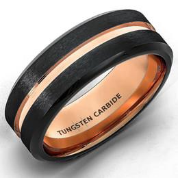 Wholesale Tungsten Black Brushed Ring - Wholesale Tungsten Wedding Band Ring for Men Women Black & 18K rose Gold Beveled Edge Brushed Polished Lifetime Guarantee free shipping