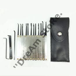 Wholesale Door Keys Handles - 12pcs Lock Picks Sets Stainless Handles w  Bag Removing Key Set Lockpick Locksmith Tools Lock Opener Unlock Door LS014