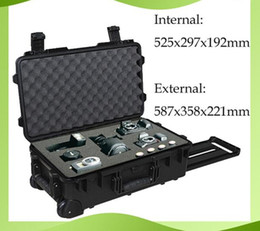 Wholesale Plastic Tool Trolley - trolley waterproof tool case 2500 instrument meter box Photographic camera case with pre-cut foam External dimensions 587*358*221mm