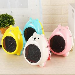 Wholesale Cartoon Electric Fan - 4 Colors Mini Electric Heaters Warm Air Blower Personal Heater Cartoon Bear Miniature Fan Heater Home Office Supplies CCA7745 200pcs