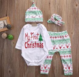 Wholesale Newborn Girls Leggings - Newborn 2017 Christmas Deer Infant Baby Boys Girls Xmas Ins Outfits Clothes Romper Pants Leggings hat headband 4PCS Set 0-2years choose free