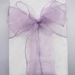 Wholesale Wedding Table Fabric Samples - 100 Lavender Organza Chair Sashes Lilac Light Purple Crystal Table Sample Fabric wedding Bow Gift -SASH