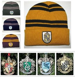 Wholesale Cosplay Costume Red - Harry Potter Beanie Ravenclaw Gryffindor Skull Caps Slytherin Hufflepuff Knit Hats Cosplay Costume Caps School Striped Badge Hat Gift B1034