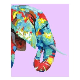 Wholesale Elephant Canvas Painting - Hand painted Wall Art Home Decor Living Room Wall Pictures Beautiful Color Elephant Oil Painting Modern Animal Paintings 1Peices No Framed