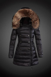 Wholesale Detachable Real Fur Collar - drop shipping top brand new woman middle long slim thick down jacket real Raccoon fur collar hoodies parkas winter outerwear coats
