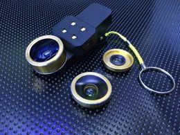 Wholesale Lens For Flashlight - 4 In 1 Mobile Phone Lens Fish Eye Macro Wide Angle Selfie LED Flash light Flashlight Universal Clip for iphone Samsung Fisheye