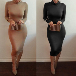 Wholesale Wholesale Plus Size Bodycon - New Women Autumn Winter Sexy Club Mid-long Dress Pencil Bodycon Bandage Party Dresses Slim Plus Size Vestidos