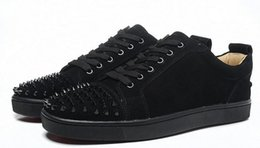 Wholesale Designer Bottoms - wholesale New 2017 red bottom men's casual sneakers,luxury brand black matter leather spiked toe skateboarding shoes,designer sports shoes 3