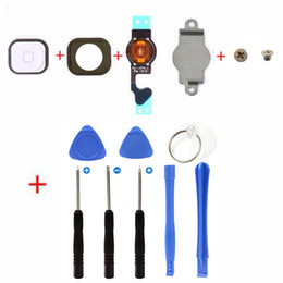 Wholesale Rubber Button Cap - Brand New Flex Cable + home button replacement key cap + Rubber Gasket + Metal Piece + 2 Screws + 8 in 1 repair tools for Iphone 5