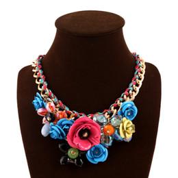 Wholesale Turquoise Coral Pendant - Hot 2016 Summer Chain Choker Bib Collar Crystal Flower Statement Necklace Jewelry Women Vintage Necklaces & Pendants Wholesale