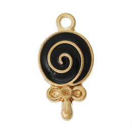 Wholesale Wholesale Lollipop Necklace - 2016 Trendy New Silver Golden Pendants Innocent Child Sweety lollipop XMAS Gift 10Pcs Free Shipping
