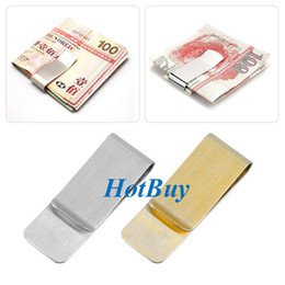 Wholesale Name Card Wallet - Stainless Steel Brass Money Clipper Slim Money Wallet Clip Clamp Card Holder Credit Name Card Holder 20x55mm #3965