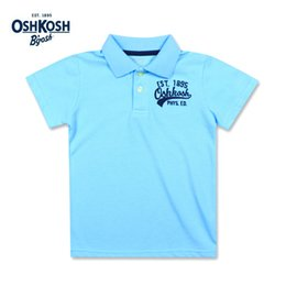 Wholesale Cotton Polo Shirt Kids - Wholesale OshKosh Baby Polo Shirts for Boys Sky Blue Solid Classic Polo Kids T-shirts 12M 2T 3T 4T 5T Brand Clothes Tops for Little Boy Polo