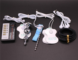 Wholesale Rubber Urethral Sounds - 4 kinds Electro Shock Sex Toys:Butt Plug,Electrical Urethral Sound,Rubber Cock Ring,Electrode Gel Pad,Medical Themed Toy