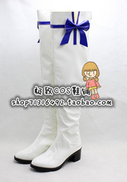 Wholesale Umi Sonoda - Wholesale-lovelive Theater version Umi Sonoda long white with bow Cosplay Boots shoes shoe boot #NC258 anime Halloween Christmas