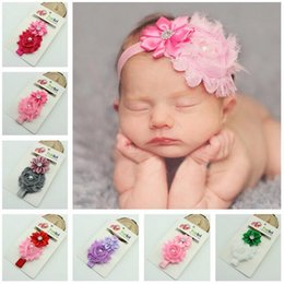Wholesale Pearl Elastic Headband - Baby Accessories Hair Flowers Elastic Hair Band Pearl Rhinestone Headbands for Girls Infant Party Headdress Kids Baby Photography Props HK84