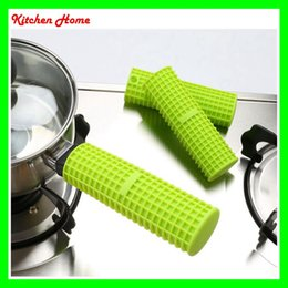 Wholesale Wholesale Kitchen Mats - DHL Free Silicone Heat Resistant Pots Handle Covers Nonslip Kitchen Hot Proof Silicone Green Covers Gloves Mats