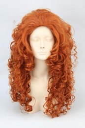 Wholesale Wig Orange Curly Long - Wig can hot dye>>>>NEW Brave Merida New Long Orange curly Cosplay Party Synthetic Wig