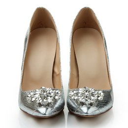 Wholesale Cheap Women Wedding Shoes - Women's Prom Party Evening Dress Wedding Bridal Shoes 2017 sparkly shiny high heel cheap custom make Pointed Toe dress shoes