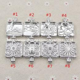 Medallones cuadrados online-Mezclado al por mayor 5 unids / lote Square Locket Love Mom celestial Moon Star Locket para Aroma Essential Oil Difusor collar de decisiones