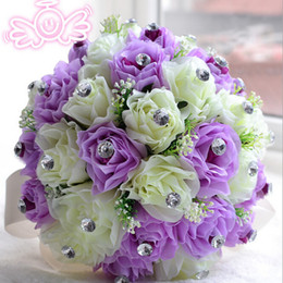 Canada Style Europen violet ivoire mariée demoiselle d'honneur fleur bouquet de mariée artificielle fleur rose bouquet Bouquet de mariée en cristal cheap ivory bridesmaid bouquets Offre