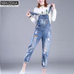 Wholesale Womens Plus Jeans - Wholesale- Full Sizes XXS-7XL Womens Jumpsuit Denim Overalls Women 2017 New Casual Strap Hole Ripped Jeans Plus Size Overalls 5XL 6XL K1208