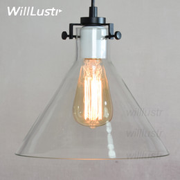 Wholesale Vintage Glass Lamp Shades - Clear Glass shade pendant lamp Meridian Edison Vintage Bulb industrial light RH Transparent FUNNEL FILAMENT LIGHTING retro American country