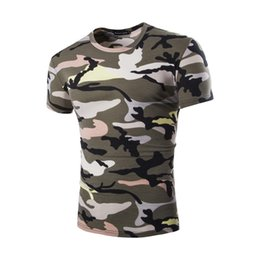Wholesale Sport T Shirt Camo - Summer Outdoors Man Casual Camouflage T-shirt Men Cotton Army Tactical Combat T Shirt Military Sport Camo Camp Mens T Shirts T31