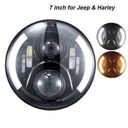 Phares halo en Ligne-Projecteur rond de 7 pouces Daymaker Projecteur H4 LED Phare pour Jeep Wrangler JK TJ LJ