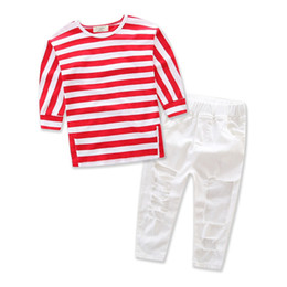 Wholesale jeans children girls for summer - Wholesale 2017 Kids Girls Red Clothes Baby Two Pieces Clothing Toddler Summer Sets Children Striped Blouse And Hole Jeans Suit For 2-7T