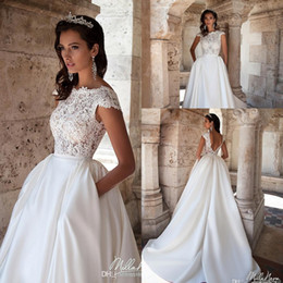 Wholesale Cheap Empire Line Tops - Elegant Cap Sleeve Lace Wedding Dresses 2016 Lace Top Sexy Backless A Line Satin Bridal Gowns With Pocket Beach Vintage Wedding Gowns Cheap