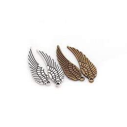 Wholesale Metal Charms Pendants Wings - Wholesale-Mini Angel Wings Charms Vintage Metal Zinc Alloy Fashion Trendy Small Wings Pendant for Jewelry Making 80pcs 9*30mm 6489
