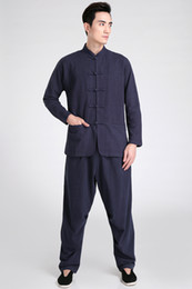 Wholesale tai chi clothing cotton - Shanghai Story tai chi clothes Cotton chinese kung fu uniforms artes marciais wushu costume men's hanfu 4 Color