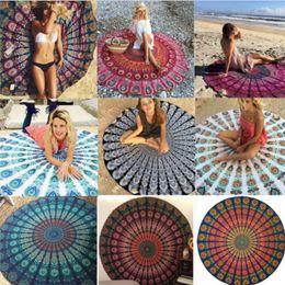Bikini bedruckte handtücher online-Strandtuch große Polyester Chiffon Runde Dekor sexy Sarongs Schal gedruckt böhmischen Hippie Beachwear Serviette Bikini Cover Ups Yoga Mat