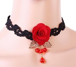Wholesale Girls Vintage For Bridal - Red Rose Flower Chokers Black Lace Imitated crystal Bridal Necklaces For Women Girls Vintage Statement Cross Necklace Gothic Jewellry Collar