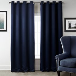 Wholesale Hanging Door Decoration - Curtain Living Room Bedroom Curtains Dark Blue Shading Curtains Vertical Hanging Simplicity Fashion Room Window Decoration 3 Sizes Available