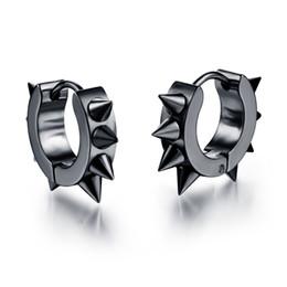 Wholesale Gold Studded Earrings - Men Women Spikes Studded 316L Stainless Steel Punk Spiky Round Huggie Hoop Earrings 1Pair