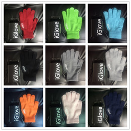 Wholesale Wool Ipad - Christmas Winter Wool Gloves Conductive Finger Touch Screen Glove for iPhone 6 6S Plus iPad Samsung LG Smart Phone Gloves Retail Box