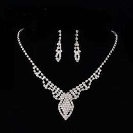Wholesale Cheap Hot Plates - 2017 New Arrival Hot Sale Women Fashion Bridal Rhinestone Crystal Drop Necklace Earring Plated Jewelry Set Wedding Cheap Free Shipping