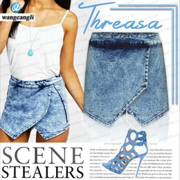 Wholesale High Waist Big Leg Pants - Wholesale- tops Women's jeans summer 2017 big cross-stack irregular bar Zhanqiu wide leg denim Women jeans large high waist shorts pants 44