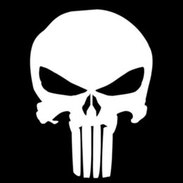 Wholesale Vinyl Car Silver - 9.5*14CM PUNISHER Skull Film Classic Car Stickers Motorcycle Decals Car Accessories Black Silver C2-0127 wholesale accessories watch