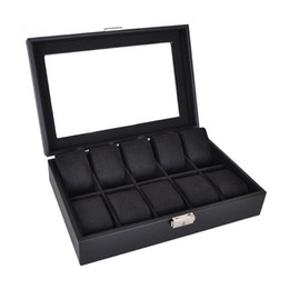 Wholesale Top Brand Watches China - 10 grids watch display box storage black Knitted Crafts CHINA TOP Quality&Brand Recommended